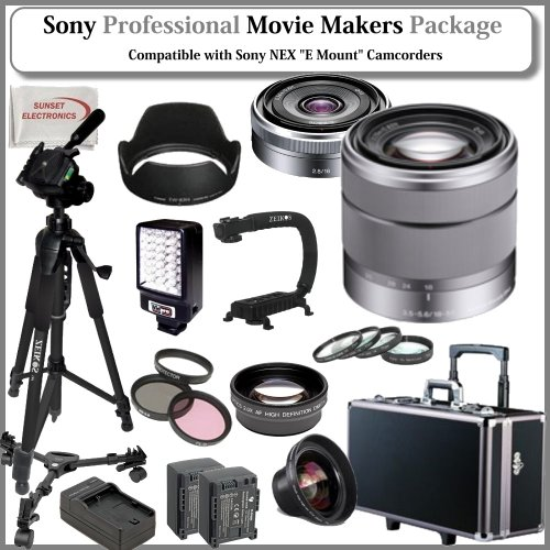Movie Makers Package for SONY NEX-VG10, NEX-VG20 Interchangeable Lens Handycam Camcorders: Includes - Sony E-Mount SEL16F28 16mm f/2.8 Wide-Angle Alpha E-Mount Lens, Sony E-Mount SEL 1855 18-55mm f/3.5-5.6 Zoom Lens for Alpha NEX Cameras, 0.45x High Definition Wide Angle Lens, 2x Telephoto HD Lens, Pro Filter Kit (UV,CPL,FLD), 4 Piece Macro Close-up Kit (+1,+2,+4,+10), Professional LED Video Light, Stabilizing Handle/Grip, Pro Fluid Head Tripod w/ Pro Tripod Dolly, Professional Hard Carrying Cas