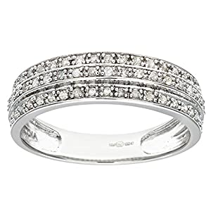 Ariel 9ct White Gold 0.25ct Triple Row Diamond Half Eternity Ring