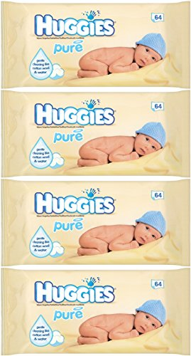 Huggies Baby Pure Wipes Refill 64 Count (Pack of 4) 256 Wipes Total - 1