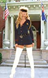 Officer Naughty Costume Includes Long Sleeve Button Front Mini Dress with Detachable Belt Matching Hat Included Sizes Small/Medium or Medium/Large in Navy Blue