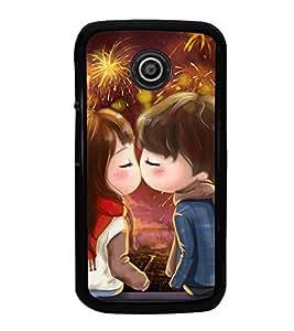 Fuson Premium 2D Back Case Cover Cute lovers With Brown Background Degined For Motorola Moto E2::Motorola Moto E (2nd Gen)
