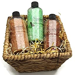 Scentuals Mineral Bath Soak Aromatherapy Bath Salt Chocolates 3 Pack 12oz Bottles