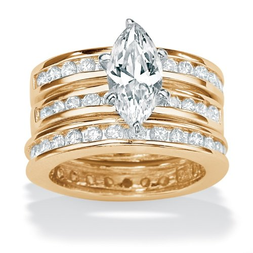 3-Piece DiamonUltra™ Cubic Zirconia 18k gold (40 mils) over Sterling Silver Ring Set