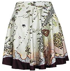 Women Girls Casual High Waist Stretch Waist Flared Pleated Mini Skirt