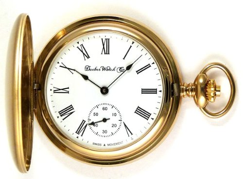 Женские карманные часы Dueber Swiss Mechanical Pocket Watch, Satin Gold Hunting Case, Assembled in USA!