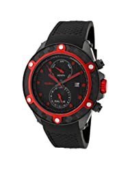 red line Men's 10108 Carbon Brake Dual Time Black Dial Black Silicone Watch