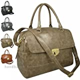 Hey Hey Handbags - Large Satchel Handbag with Detachable / Adjustable Shoulder Strap, Colour : Mink Taupe