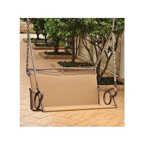 Valencia Resin Wicker Steel Loveseat Swing Outdoor Furniture