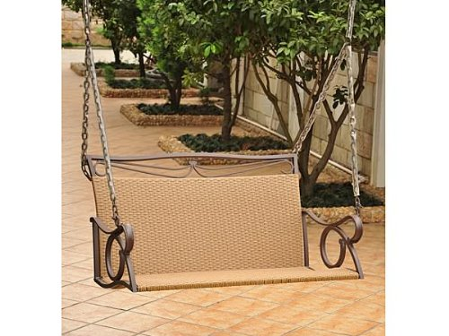 International Caravan Valencia Steel and Resin Wicker Porch Swing, 4100-DBL-HY, Seats 2, Brown photo