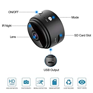 Mini Spy Camera Wireless Hidden Camera WiFi HD 1080P Small Nanny Cam Home Security Motion Detection Nigh Vision Remote View with Cell Phone App Android iPhone (Color: Black)