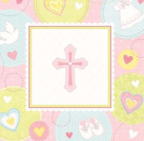 Sweet Christening Pink Cross Beverage Napkins - 2 Ply - 16/Pack