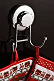 HASKO accessories - Super Powerful Vacuum Suction Cup Hook Holder - Strong Stainless Steel Hooks for Bathroom & Kitchen, Chrome