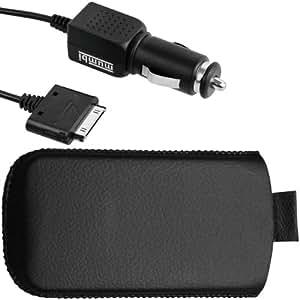mumbi Zubehör SET iPhone & iPod: Hülle Tasche mit Ausziehhilfe + KFZ Ladekabel
