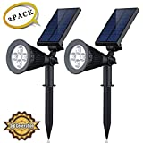 Solar LED Lights (2 Pack) [3rd Generation] HKYH(TM) 2-in-1 Solar Powered Outdoor Spotlight for Landscape Lighting Waterproof Wall Light Bulb Driveway Yard Lawn Pathway Garden
