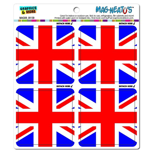 Graphics And More Great Britain Flag United Kingdom Union Jack Mag-Neato'S Automotive Car Refrigerator Locker Vinyl Magnet Set front-631036