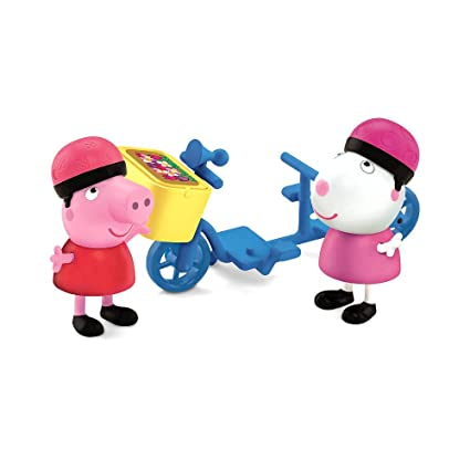 Fisher-Price Peppa Pig 2-Pack Figures - Peppa & Suzie Sheep Bycycling Together