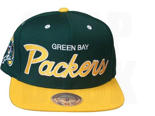 Mitchell & Ness Green Bay Packers 2 Tone Script Snapback Hat Adjustable by Mitchell & Ness
