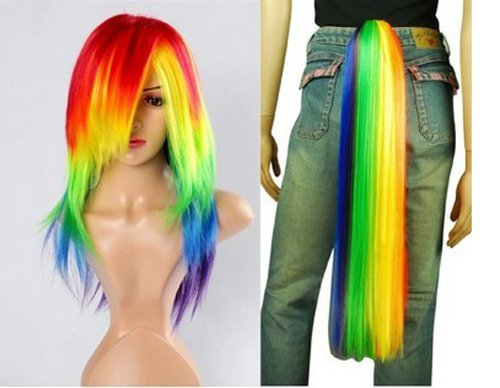 Hiliss My Little Pony Rainbow Dash Cosplay Costume Wig