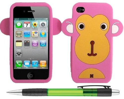 Lovely Baby Pink Monkey Silicone Skin Design Protector Soft Cover Case Compatible For Apple Iphone 4 / 4S (At&T, Verizon, Sprint) + Bonus 1 Of New Rubber Grip Translucent Ball Point Pen