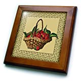 ft_170657_1 BLN Victorian Fruits and Flowers Collection - Woven Basket of Strawberries on a Green Ivy Pattern Background - Framed Tiles - 8x8 Framed Tile
