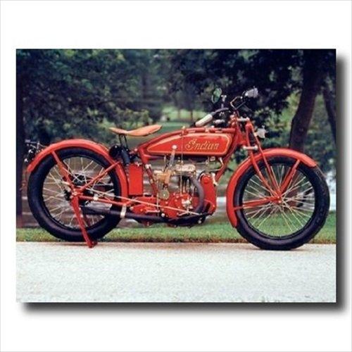 Old Red Vintage Indian Motorcycle Picture Black Framed Art Print 1