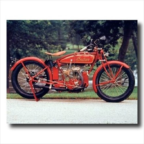 Old Red Vintage Indian Motorcycle Picture Black Framed Art Print 1