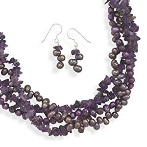 Genuine Elegante (TM) Product. Amethyst and Cultured Freshwater Pearl Necklace and Earring Set. 100% Satisfaction Guaranteed.