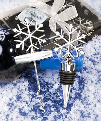 Snowflake Wine Set: Bottle Stopper and Corkscrew - Winter Wedding Favors, 12