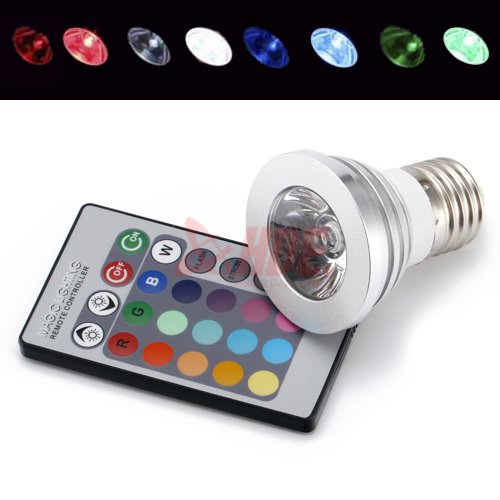 HDE® Remote Control Color Changing 16 LED Light Bulb with RC