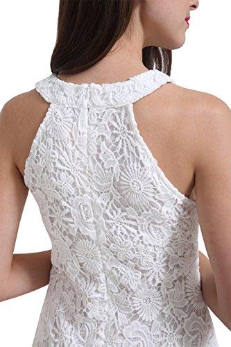 Berydress Women's Sleeveless Sheath Short Lace Dress (US4, #6010_White)