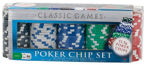 100 Ct. Classic Games Poker Chip Set 11.5 gm