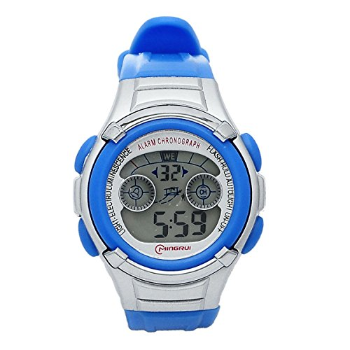 Mingrui 30M Water-Proof Digital Boys Girls Sport Watch With Alarm Stopwatch Chronograph Light Blue