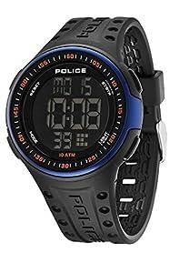 Police - PL.13904JPBBL-02 - Montre Homme - Quartz Digital - Cadran Noir - Bracelet Silicone Noir