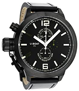 U-Boat Black-Green Dial Chronograph Black Leather Mens Watch 300