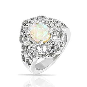 Bling Jewelry Gemstone Oval White Opal Vintage CZ Filigree Flower Ring Silver