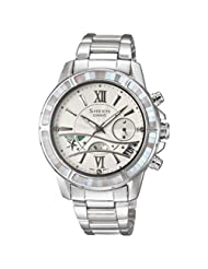 Casio Women's SHE5514D-7A Silver Stainless-Steel Quartz Watch with Silver Dial