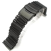 "20mm Ploprof 316 Reform Stainless Steel ""Shark"" Mesh Watch Band Diver Strap PVD Black, BB"