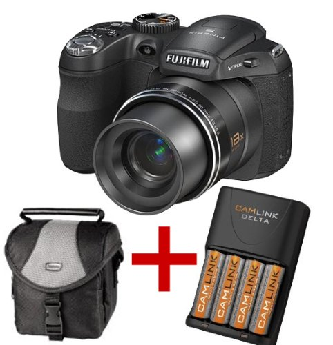Fuji Finepix S2950 Digital Camera 18x Zoom + 4AA NiMh Batteries+Charger+Case (Fujifilm Finepix S2950 HD 14MP 18x Zoom 3
