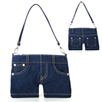 Denim Mini Jean Shoulder Bag Purse (Blue)