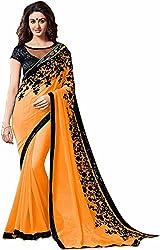 Fableela Women's Chiffon Saree with Blouse Piece (Orange)