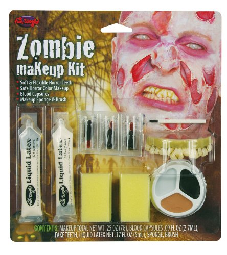 Fun World Scary Gross Zombie Halloween Costume Makeup + Teeth Kit
