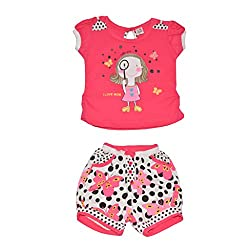 Baby Bucket Premium Summer suit Baby Girl's Cartoon Print on Sleeveless Top with Half Pant (Pink, 6-9 Months)