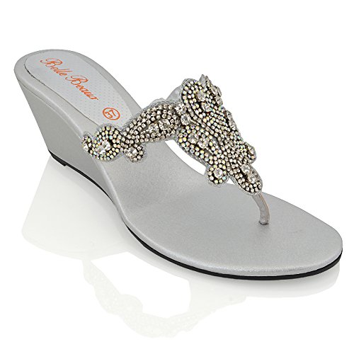 Essex Glam Womens Slip On Toe Post Sparkly Diamante Synthetic Dressy Wedge Heel Sandals