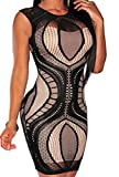 Zkess Women's Club Party Lace Party Club Bodycon Dress Large Size Black 1