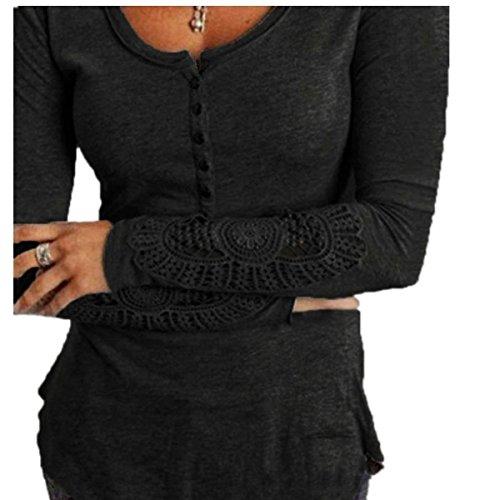 Minetom Donna Autunno Inverno Pizzo Crochet Camicetta Bottoni Top Camicie Casual Pullover Maniche Lunghe ( Nero IT 46 )