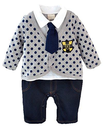 Minetom Bambino Ragazzi 1 Pc Pagliaccetto Neonato Tute A Manica Lunga A Pois Jeans Bodysuits Grigio 70