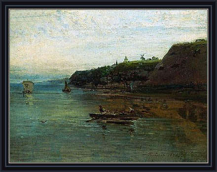 "Savrasov (Volga Near Goroditsa, 1870) Canvas Art Print Reproduction Framed With 2.6"" Wide Black Frame And Gold Edge (10X13.2 In) (25X34 Cm) front-12392"