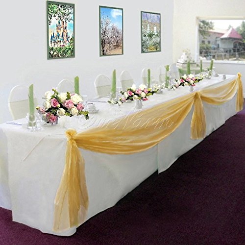 Gorgeous Home Linen *Many Colors* Elegant Wedding Table Valance Chair Decor Sheer Swags Fabric Party Decorations (Gold)