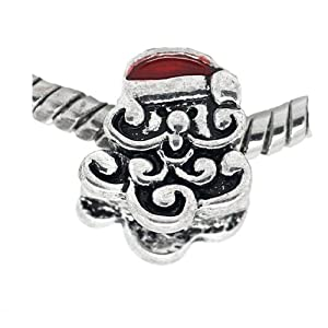 "Christmas "" Santa Clause Head with Red Santa Hat Charm"" Bead Spacer Pandora Troll Chamilia Biagi Bracelet Compatible"