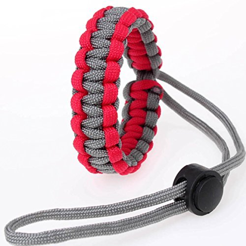 Cotowin Paracord Camera Wrist Strap Safety Adjustable Strap [Red/Grey]